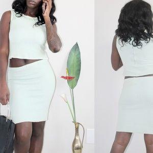 VTG Seafoam Green 2 PC Knit Floral Skirt Set